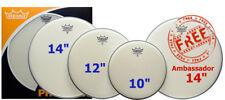 Remo Ambassador Coated Fusion Set PP0110BA 10/12/14/14/ Inch Drum Heads