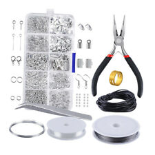 Jewelry Making Kits Silver Tone DIY Beginners Beading Wire Plier Repair Tools