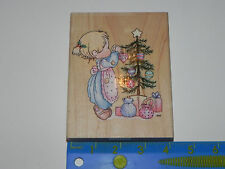 Stampendous Rubber Stamp Precious Moments God Sent His Best Christmas Tree Girl