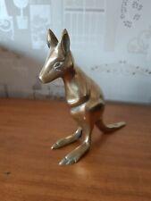More details for vintage rustic decorative brass kangaroo ornament - 4.5