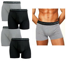 4PK Men's Boxer Briefs HOLLYWOOD PRO 100% Breathable Cotton Fitted SMALL 30-32