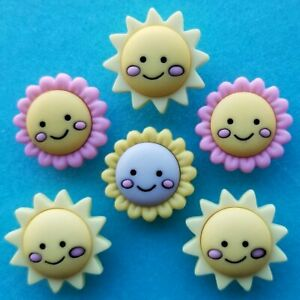 HELLO SUNSHINE Craft Buttons Baby Girl Pink Flower Yellow Sun Summer Dress It Up