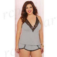 Women lingerie two piece cami set Gray plus size 1X 2X 3X 4X 10608