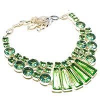 "Green Peridot Gemstone Handmade 925 Sterling Silver Jewelry Ethnic Necklace 18"""