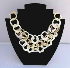 NEW WITH £28 TAG FCUK FRENCH CONNECTION 3 ROW GOLD/SILVER TONE RING NECKLACE