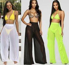 Women Beach Pool Party Wear Swim Bikini Cover Mesh Sheer Palazzo Ruffle Trousers