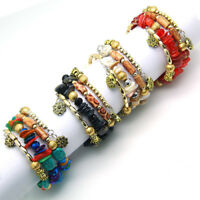 Women Men Multilayer Natural Stone Crystal Bangle Women Beads Bracelet Jewelry