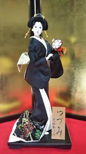 "Antique Japanese Geisha Doll in Kimono 17"" 45cm  wooden base Traditional Vintage"