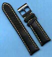 NEW RAISED LOGO BREITLING BUCKLE & 24mm GENUINE BLACK LEATHER STRAP BAND PADDED
