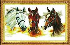 """NEW Cross Stitch Kits""""Three horses"""""""