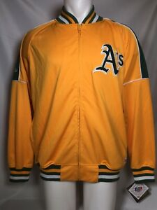 RARE Oakland A's Athletics Stitches Men's Large MLB Varsity Gold Jacket Full Zip