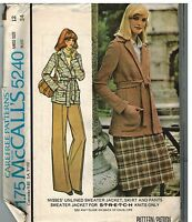 5240 UNCUT McCalls Sewing Pattern Misses Unlined Sweater Jacket Skirt Pants 12