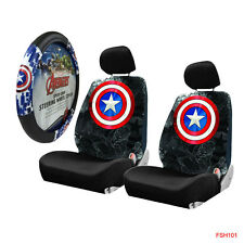 Captain America Shield Car Truck 2 Front Seat Covers & Steering Wheel Cover Set