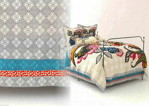 Anthropologie Laelia Twin Bed Skirt Cotton Voile Bohemian Grey Blue Orange Print