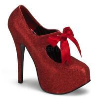 *** Bordello shoes Teeze-04G red glitter platform pumps heels satin bow 8