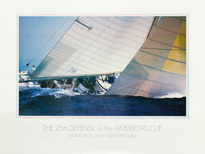 America's Cup sailing poster, 1983 - 25th DEFENSE, signed by the artist