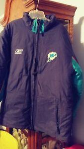 Miami Dolphins Reebok NFL On Field Team Apparel Coat Jacket Men's SIZE MEDIUM