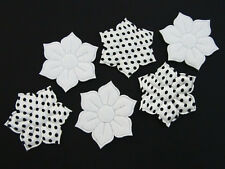 60 Black & White Felt/Satin Dots Holly Flower Applique/Craft/Holiday/Winter L86
