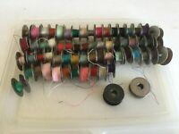 Vintage Metal Sewing Bobbins 60 most have thread (lot C)