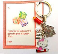 Thank you Gift for Nursery School Teacher Hello Kitty Keyring card & organza Bag
