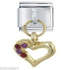 RHINESTONE HEART - Daisy Charms by JSC Fits Classic Size Italian Charm Bracelet
