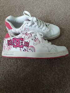 DC Pixie Scroll Skate Shoes Trainers White & Pink Size UK3 Eur36 Girls Womens