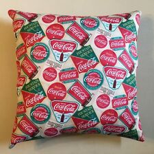 NEW 15 X 15 RETRO COCA-COLA LOGO & SIGNS COKE PILLOW - COMPLETE SODA POP PILLOW