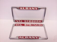 Albany CA Val Strough license plate frame SET pair embossed metal tags holder VW