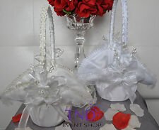 WEDDING CEREMONY SATIN FLOWER GIRL BASKET W/ FLOWER DESIGNS & PEARLS RHINESTONES