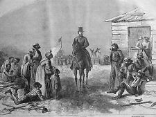 Southern Labor EX SLAVES, NON-DOMINANT WHITES Pipe Smokers 1865  Print Matted
