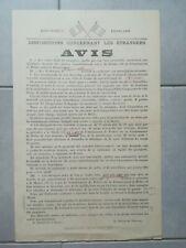 ii153 Affiche TBE 50x30cm WW2 Avis disposition concernant les étrangers