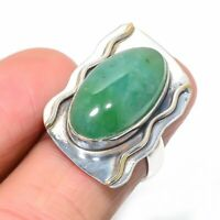 Zambian Mines Emerald Handmade Ethnic 925 Sterling Silver Ring s.7 R1083-9