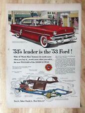 Original Magazine Print Ad 1953 Leader is FORD Super Market Town Sedan