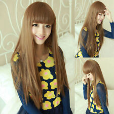 Fashion Long Light Brown Straight Neat Bang Women Lady Party Hair Wig Wigs + Cap