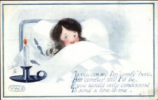 VWS TUCK All For Him - Cute Little Girl in Bed by Candle Light c1910 Postcard