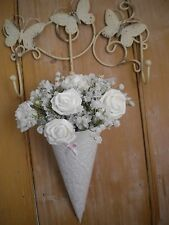 12x CHURCH PEW ENDS WEDDING  HANGING DECORATION WHITE LACE DOILY BOW