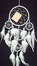 NEW DREAM CATCHER WHITE NYLON CORD WITH BEAD BEST SELLER FEATHER DECORATION