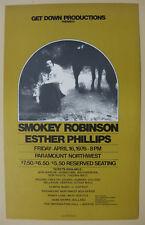 SMOKEY ROBINSON Paramount Northwest 1976 CONCERT POSTER Esther Phillips MOTOWN