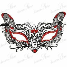 Cat Fox Halloween Costume Masquerade Mask for Women [Red Rhinestones & Glitters]