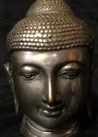 Karana Mudra BUDDHAFIGUR Kopf Bronze versilbert 11cm CHINA ASIEN Meditation
