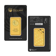 Perth Mint 1 oz .9999 Gold Bar New Sealed With Assay Certificate 24 Karat