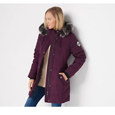 Arctic Expedition Quilted Down Coat with Removable Hood Blackberry
