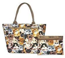 LeSportsac Cat Cafe Bene Small EveryGirl Tote Bag + Cosmetic Bag Free Ship NWT