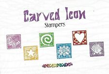 Inkadinkado ~ CARVED ICON ~ Acrylic Mounted Rubber Stamp Butterfly Heart Flowers