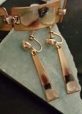 K. Denning Mid Century Modern Enamel on Copper   Bracelet/Dangle Earrings