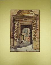 C S Williamson 1927 Signed Watercolour of Stone Door Casing, Framed & Glazed