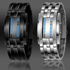 Luxury Mens Ladies Black Stainless Steel Date Digital LED Bracelet Sport Watch