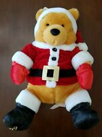 "Disney Store Winnie The Pooh Plush Wearing Santa Outfit Hat Coat 13"" Christmas"