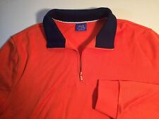 Le Tigre XL Orange Cotton 1/2 Zip Pullover with Blue Collar and Pockets