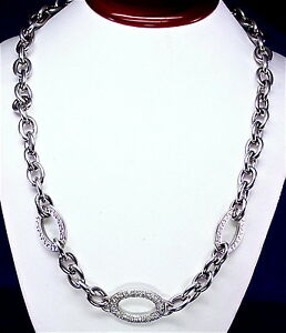 "S. STEEL NECKLACE WITH PAVE SET DIAMONDS ON AN OVAL LINK, 18"" , 0.20CTTW"